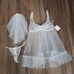 Victoria's Secret Tule Sheer Bridal Teddy S